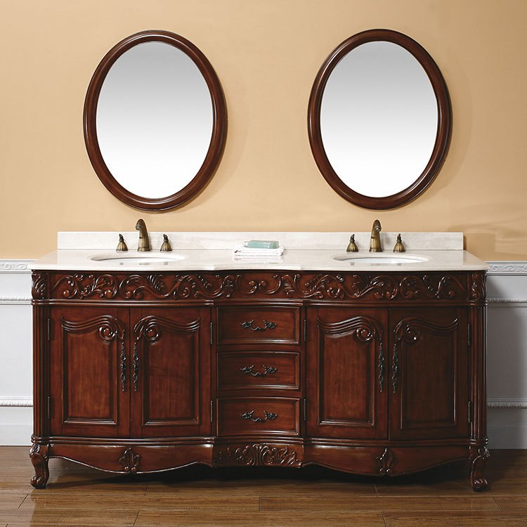 72 dark cherry double vanity cabinet with marble top riverbend home