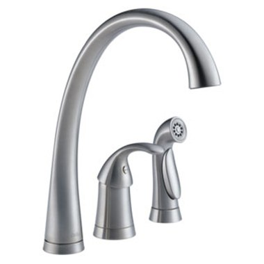 Delta 4380-AR-DST Pilar Single Handle High Arc Kitchen Faucet with Side  Sprayer
