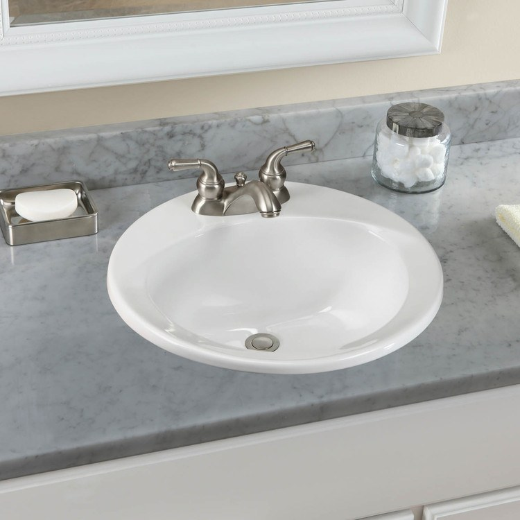 Commercial 19 Round Drop In Bathroom Sink With Three Holes