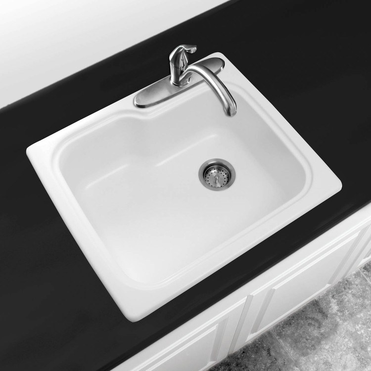 Swanstone 25x22 Drop In Single Bowl Kitchen Sink