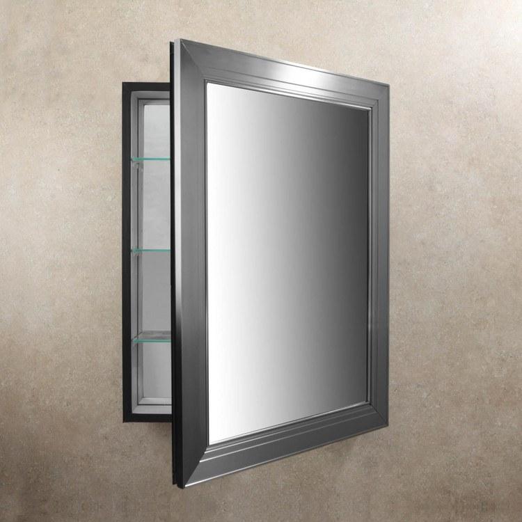Metallique Framed Medicine Cabinet Brushed Nickel Clearance