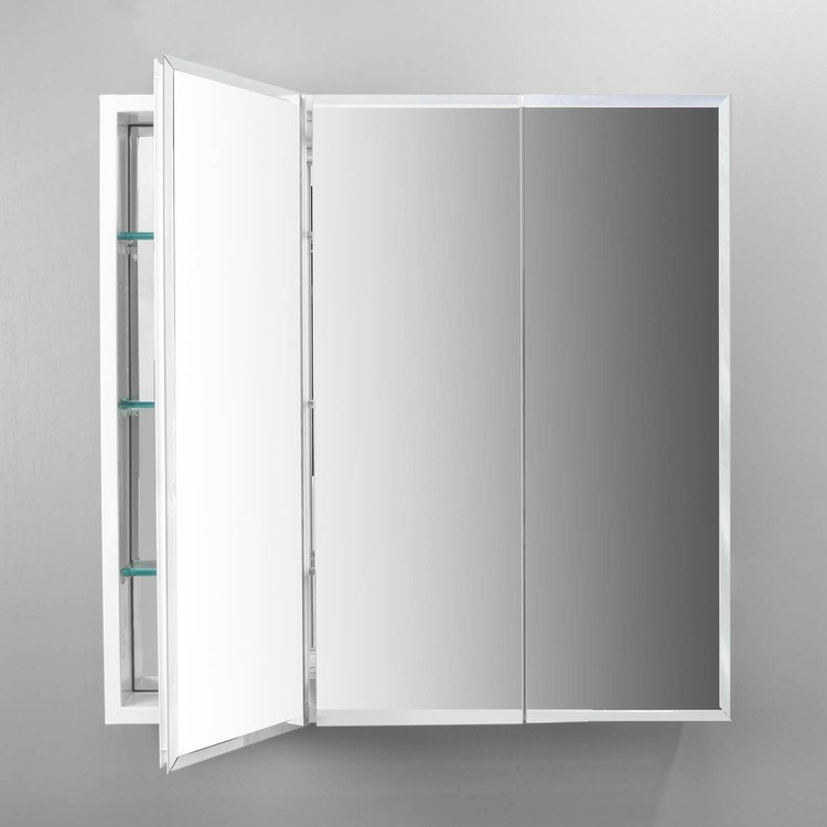 Pl Series 30 Flat Dual Mount Triple Door Medicine Cabinet With Beveled Mirrors