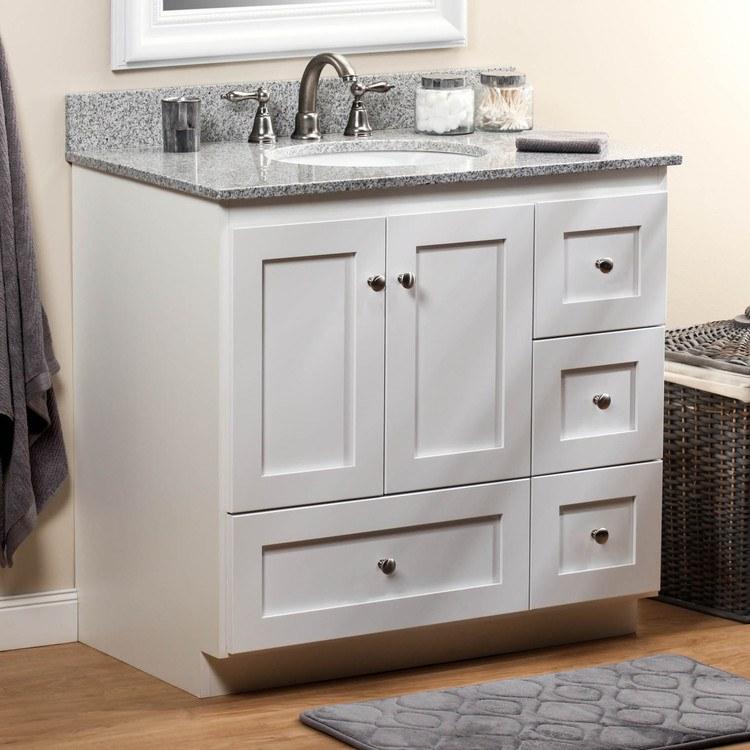 Strasser 01 132 2  Simplicity 36IN Satin White Four Drawer Vanity Cabinet  Only. Strasser 01 132 2   Simplicity Vanity