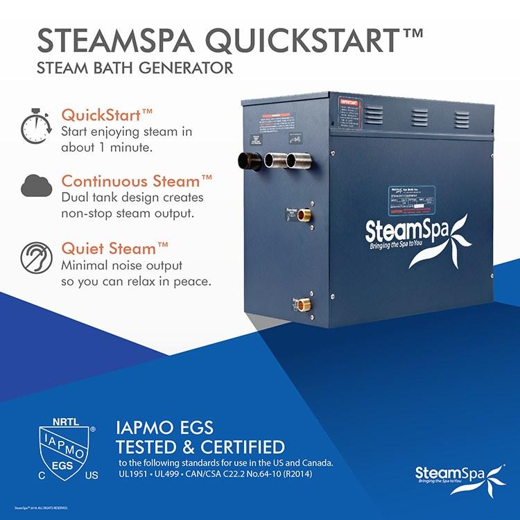 SteamSpa OA750CH Oasis 7 5KW Steam Generator Package