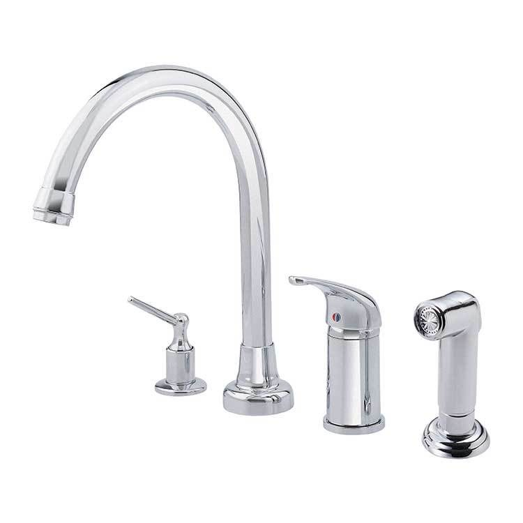 Melrose Single Handle High Arc Kitchen Faucet With Side Sprayer Soap Dispenser