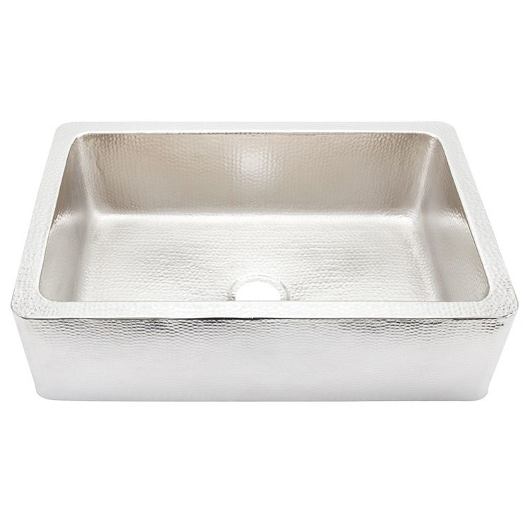 Thompson Traders KSA 3322HSS Lucca Single Bowl Hand Hammered Stainless  Apron Front Kitchen Sink