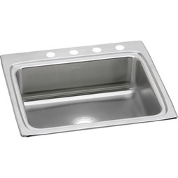 "Elkay LR25224 Gourmet 25"" Stainless Steel Single Bowl Drop-In Kitchen Sink with 4 Holes"