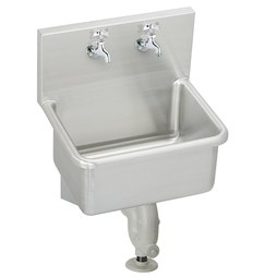 Elkay ESS2520C Service Sink ESS 25 x 19-1/2 Inch 12 Inch Depth Single Bowl with Sink Package High Splash Back 2 Hole Stainless Steel Wall Mount