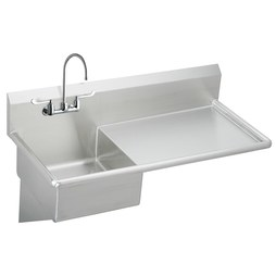 Elkay ESS4924RW6C Service Sink 49-1/2 x 24 Inch 10 Inch Depth Single Bowl with 6 Inch Wrist Blade Handles Sink Package Drainboard Right Hand High Splash Back 2 Hole Stainless Steel Wall Mount