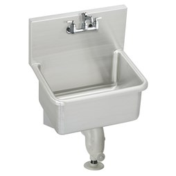 Elkay ESSB2520C Service Sink ESSB 25 x 19-1/2 Inch 12 Inch Depth Single Bowl with Sink Package High Splash Back 2 Hole Stainless Steel Wall Mount