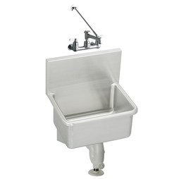 Elkay ESSW2319C Service Sink ESSW 23 x 18-1/2 Inch 12 Inch Depth Single Bowl with Sink Package High Splash Back 2 Hole Stainless Steel Wall Mount