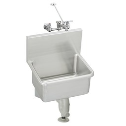 Elkay ESSW2520C Service Sink ESSW 25 x 19-1/2 Inch 12 Inch Depth Single Bowl with Sink Package High Splash Back 2 Hole Stainless Steel Wall Mount