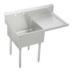 Elkay SS8130R-2 Scullery Sink Sturdibilt 55-1/2 x 27-1/2 Inch 14 Inch Depth Single Compartment Drainboard Right Hand High Splash Back 2 Hole Buffed Satin Floor Mount
