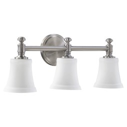 Quorum 5122-3-65 Bath Light Rossington Vanity 3 Lamp Satin Nickel Satin Opal Medium 100W