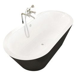 "Atlantis 3265VY Valley 32x65x23"" Oval 1-Piece Freestanding Soaking Bathtub with Center Drain"