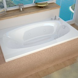 "Atlantis 4266PWL Polaris 42""W x 66""L Rectangular Drop-In Whirlpool Bathtub with Left Drain"