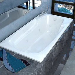 "Atlantis 4272EDL Eros 42""W x 72""L Rectangular Drop-In Dual Whirlpool/Air Massage Bathtub with Left Drain"