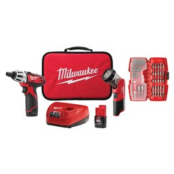 Milwaukee 2482-22 Tool Kit M12 Screw Driver/Work Light Combo with Battery/Charger 2 Tool 1/4 Inch 12 Volt