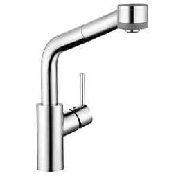 Hansgrohe 04247000 Talis S Single Handle Semi Arc Pull Out Prep Faucet with Dual Spray