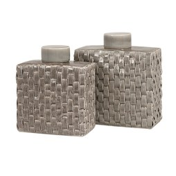 IMAX 64243-2 Sophie Woven Ceramic Canisters Set of 2