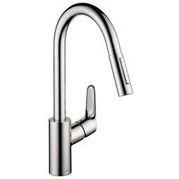 Hansgrohe 04505000 Focus Single Hole Pull Down Kitchen Faucet with Dual Spray