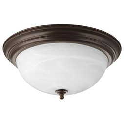 Progress P3926-20 Melon Three-Light Flush Mount Ceiling Light with Alabaster Glass