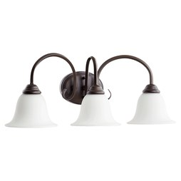 Quorum 5110-3-186 Bath Light Spencer Vanity 3 Lamp Oiled Bronze Satin Opal Medium 100W