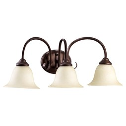 Quorum 5110-3-86 Bath Light Spencer Vanity 3 Lamp Oiled Bronze Amber Scavo Medium 100W