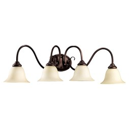 Quorum 5110-4-86 Bath Light Spencer Vanity 4 Lamp Oiled Bronze Amber Scavo Medium 100W