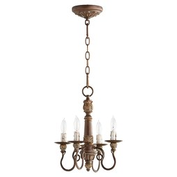 Quorum 6006-4-39 Chandelier Salento 1 Tier 4 Lamp Vintage Copper Candelabra 60 Watt