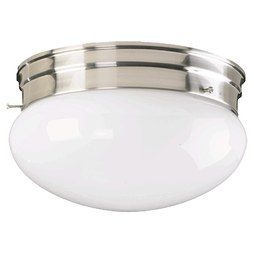 Quorum 3015-8-65 Ceiling Light Flushmount 2 Lamp Satin Nickel Medium 60W
