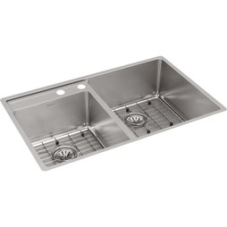 "Elkay ECTRUD31199LDBG2 Crosstown 32-1/2"" Double Bowl Stainless Steel Undermount Kitchen Sink with Grid/Left Deck/2 Holes"