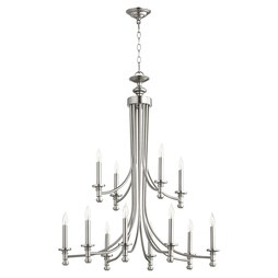 Quorum 6022-12-65 Chandelier Rossington 2 Tier 12 Lamp Satin Nickel Candelabra 60 Watt