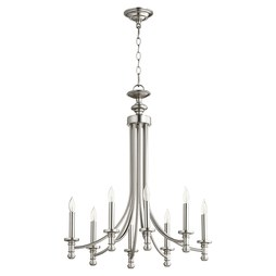 Quorum 6022-8-65 Chandelier Rossington 1 Tier 8 Lamp Satin Nickel Candelabra 60 Watt