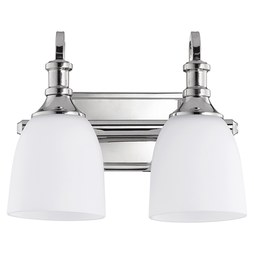 Quorum 5011-2-62 Bath Light Richmond Vanity 2 Lamp Polished Nickel Glass or Shade Satin Opal Medium 100 Watt
