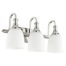 Quorum 5011-3-62 Bath Light Richmond Vanity 3 Lamp Polished Nickel Glass or Shade Satin Opal Medium 100 Watt