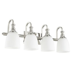 Quorum 5011-4-62 Bath Light Richmond Vanity 4 Lamp Polished Nickel Glass or Shade Satin Opal Medium 100 Watt