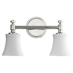 Quorum 5122-2-62 Bath Light Rossington Vanity 2 Lamp Polished Nickel Satin Opal Medium 100W