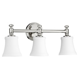 Quorum 5122-3-62 Bath Light Rossington Vanity 3 Lamp Polished Nickel Satin Opal Medium 100W