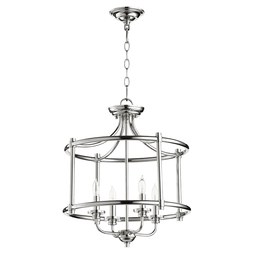 Quorum 2822-18-62 Ceiling Light Rossington Dual Mount 4 Lamp Polished Nickel Candelabra 60W
