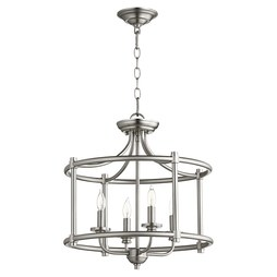Quorum 2822-18-65 Ceiling Light Rossington Dual Mount 4 Lamp Satin Nickel Candelabra 60W