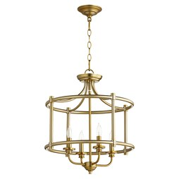 Quorum 2822-18-80 Ceiling Light Rossington Dual Mount 4 Lamp Aged Brass Candelabra 60W