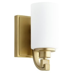 Quorum 5407-1-80 Sconce Lancaster 1 Lamp Aged Brass Satin Opal Medium 100W