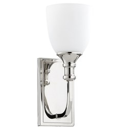 Quorum 5411-1-62 Sconce Richmond 1 Lamp Polished Nickel Glass or Shade Satin Opal Medium 100 Watt
