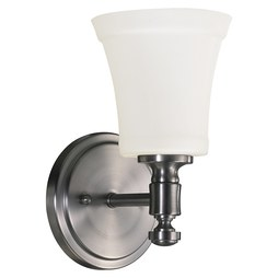Quorum 5422-1-65 Sconce Rossington 1 Lamp Satin Nickel Satin Opal Medium 100W