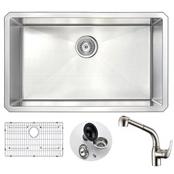 "Anzzi KAZ3018-095 Vanguard 30"" Single Bowl Stainless Steel Undermount Kitchen Sink with Harbour Faucet"