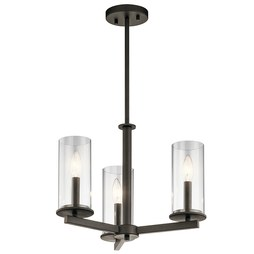 Kichler 43997OZ Crosby Three-Light Chandelier/Semi-Flush Mount Ceiling Fixture
