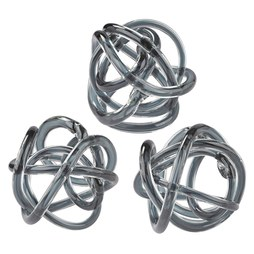 154-019/S3 Grey Glass Knots Set of 3 - OPEN BOX