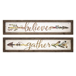 Harvest Believe and Gather Wall Plaques Assortment of 2