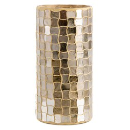 IMAX 80197 Christmas Gold Small Glass Mosaic Hurricane